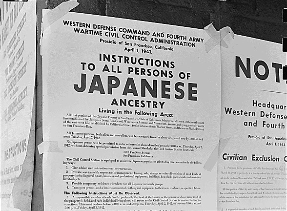 """Exclusion Order"" vom April 1942 (National Archives and Records Administration)"