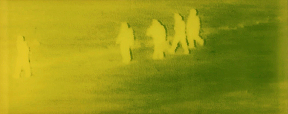 Markus Döhne: Green Screens, Refugee Series. 1999–2008, #40 – Four Men Walking, 2003, Detail. 124 x 298 x 8 cm. Stahl, Polyester und Photoemulsion (Foto: © 2013 Markus Döhne / VG BildKunst, Bonn)