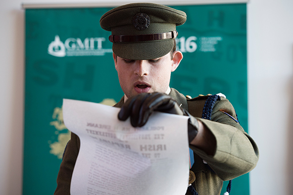 Proclamation Day remembrance ceremony at Galway-Mayo Institute of Technology, 15 March 2016 (photo: © Andrew Downes)